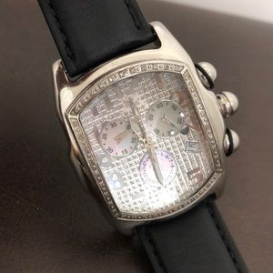 Ice link stainless steel diamond watch
